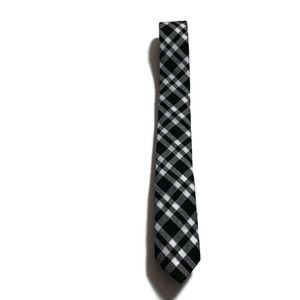 Skinny Tie Madness Black White Plaid Slim Necktie